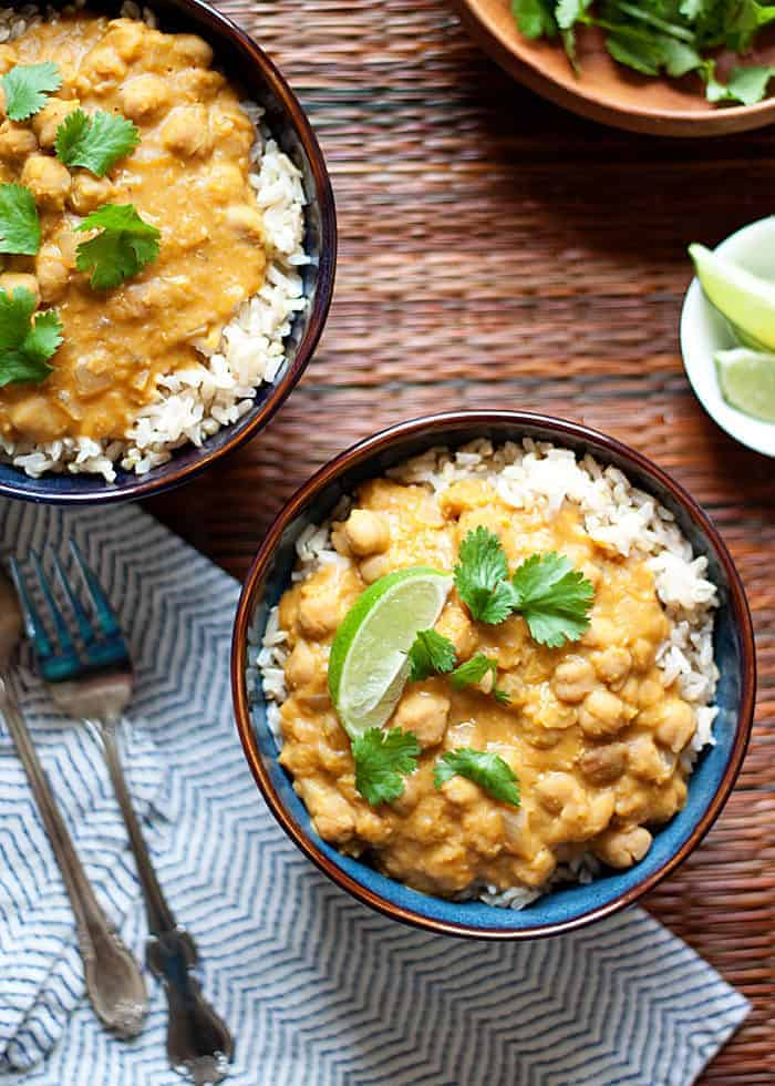 Slow Cooker Pumpkin Chickpea Red Lentil Curry - Kare from Kitchen Treaty