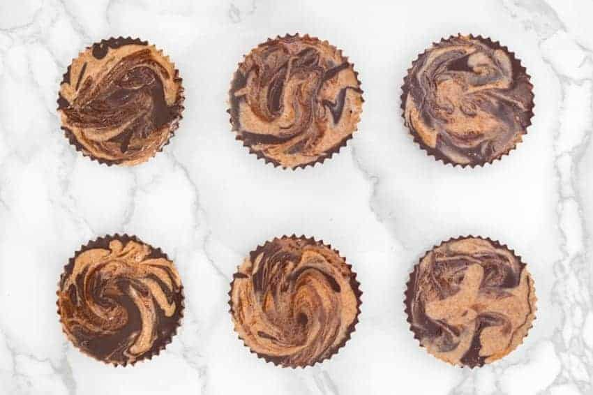 Superfood Almond Butter Swirl Chocolate Cups from Natural + Nurtured