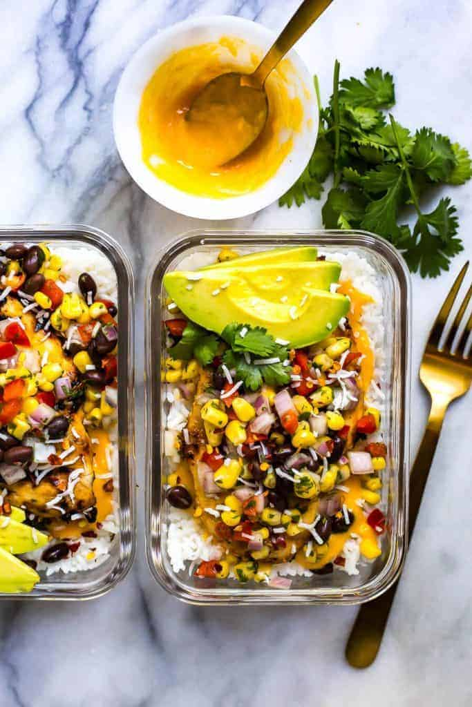 Coconut Mango Chicken Meal Prep Bowls from The Girl on Bloor