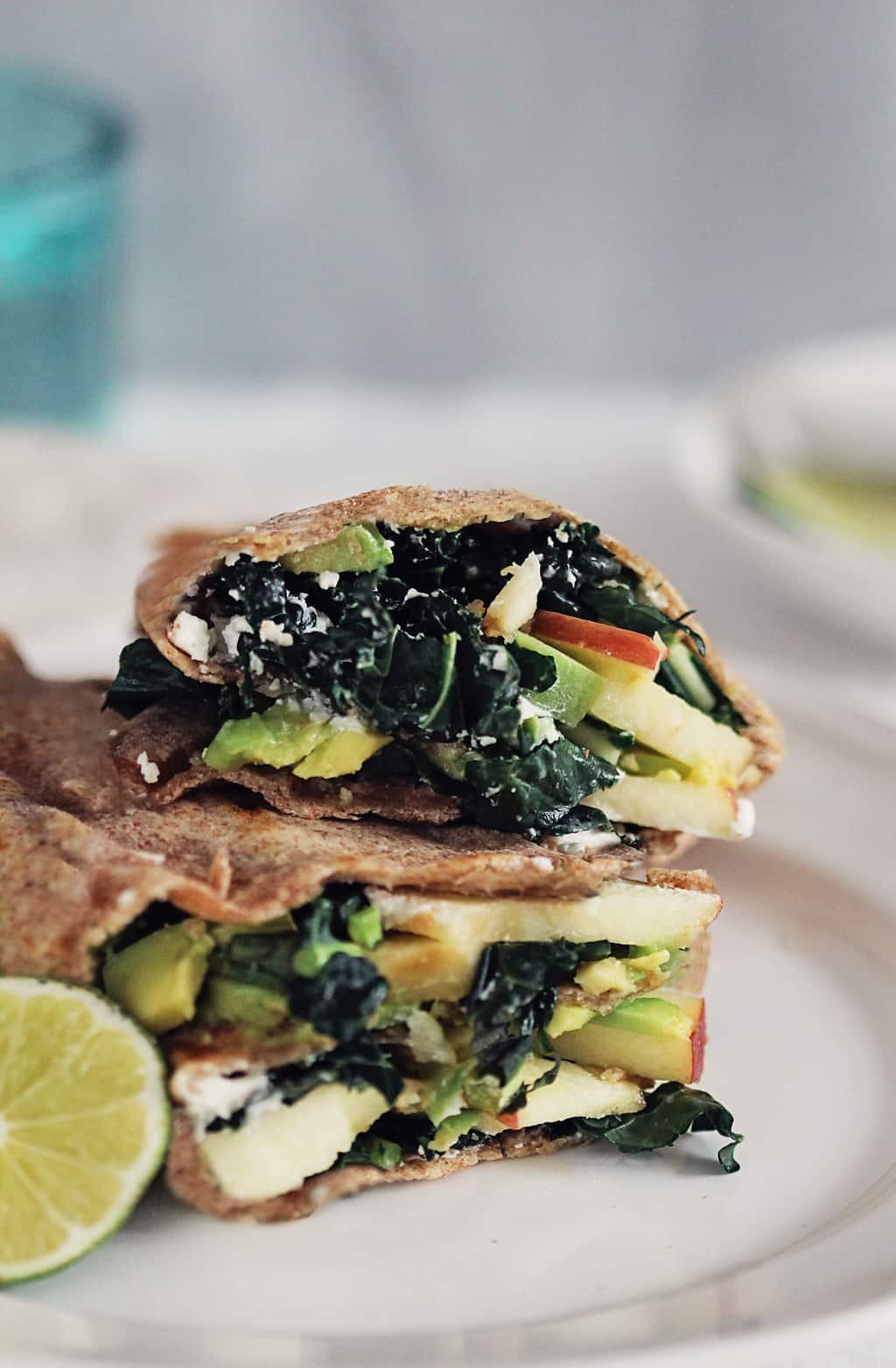 Kale, Apple and Avocado Wraps