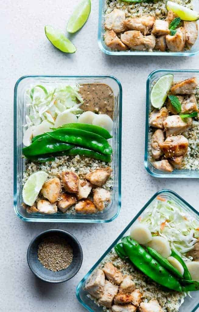 Chicken Satay Meal Prep Bowls from Food Faith Fitness