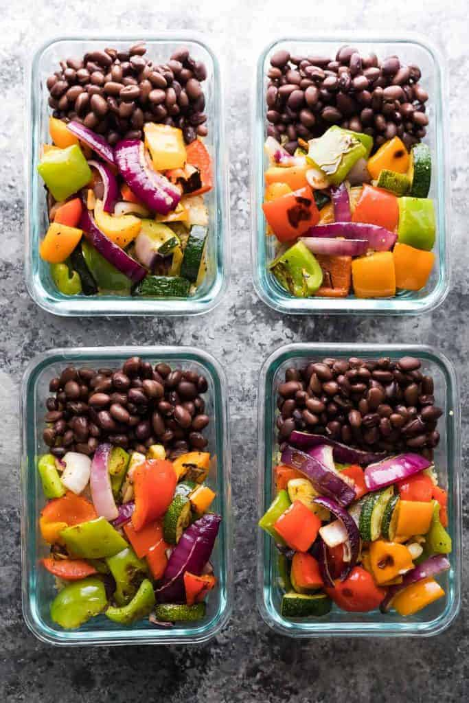 Grilled Veggie & Black Bean Meal Prep Bowls from Sweet Peas and Saffron