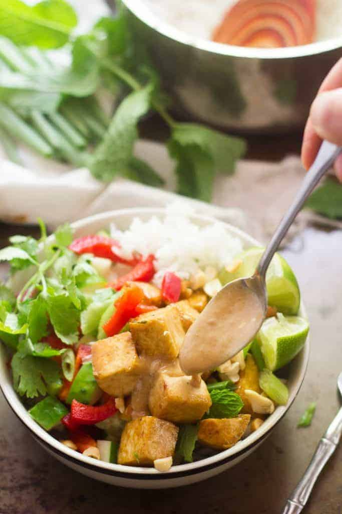 Lemongrass Tofu Buddha Bowls with Peanut Sauce from Connoisseurus Veg