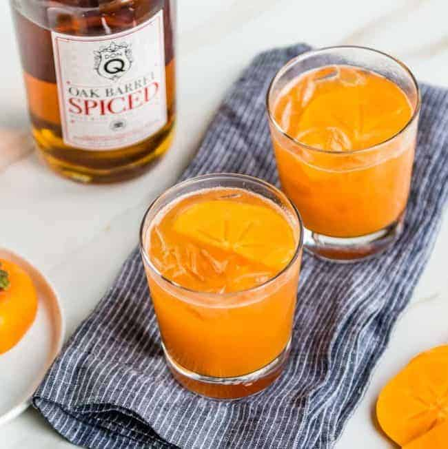 Persimmon Spice Rum Old Fashioned made with Don Q Puerto Rican Rum | HelloGlow.co