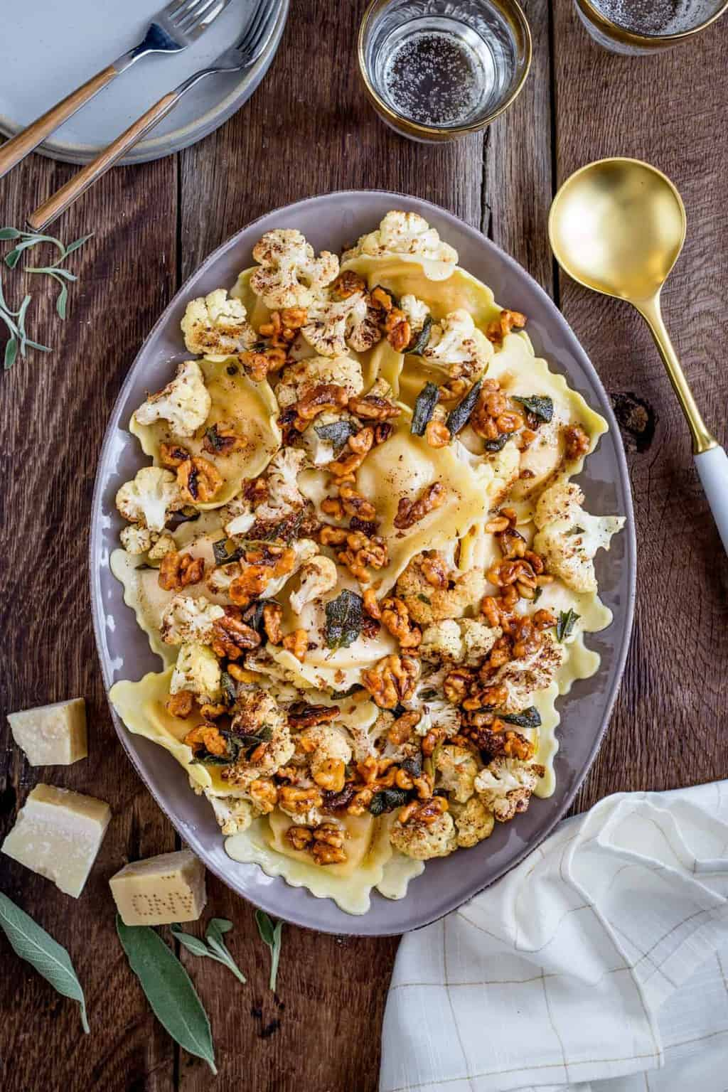 Pin On Health: Butternut Squash Ravioli With Roasted Cauliflower + Brown