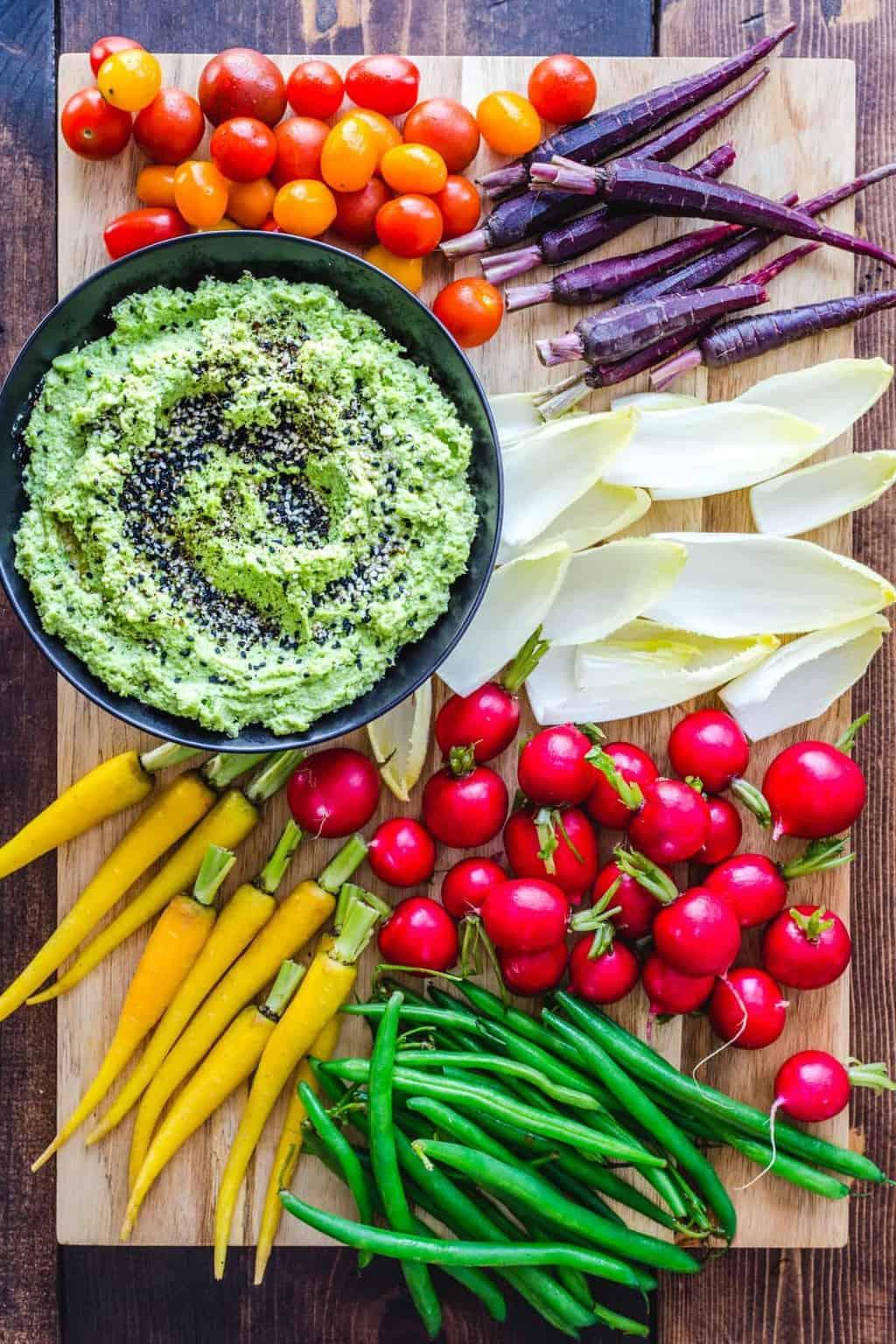 Edamame Hummus and Crudité Platter