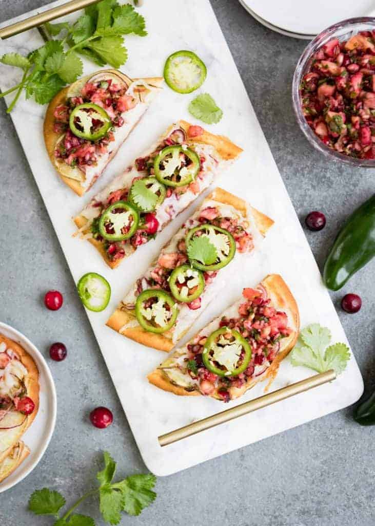 Sweet Potato Flatbread with Cranberry Salsa