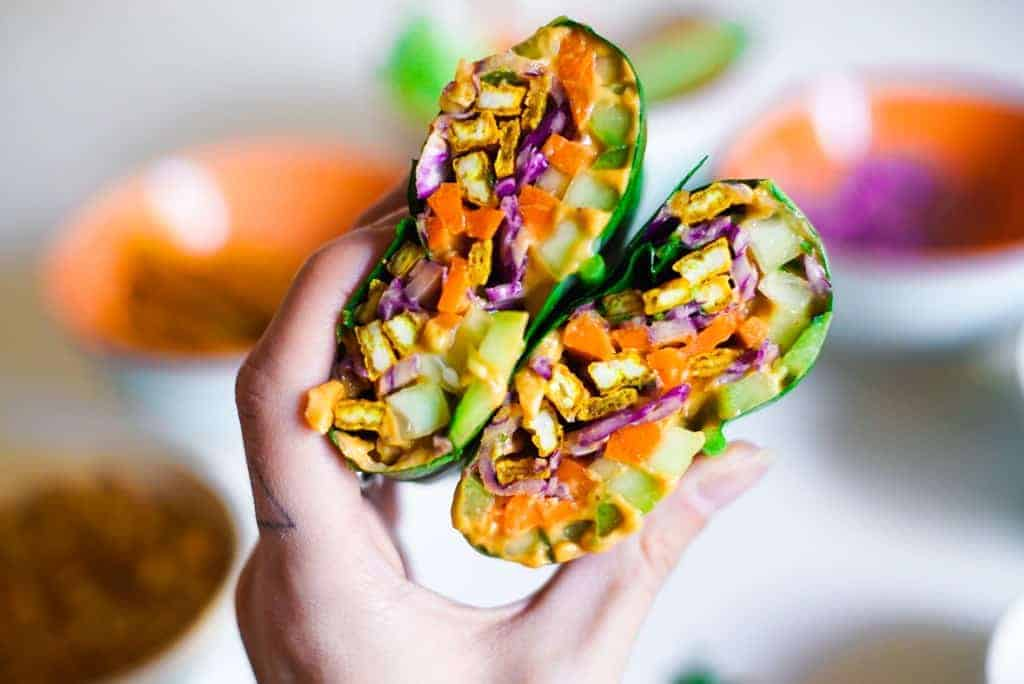 Turmeric Tofu Rainbow Wraps + Peanut Sauce from Ditch the Recipe