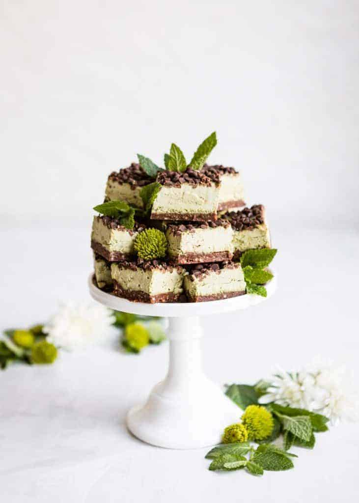 Vegan Mint Matcha Chocolate Chip Cheesecake Bars from Hello Veggie
