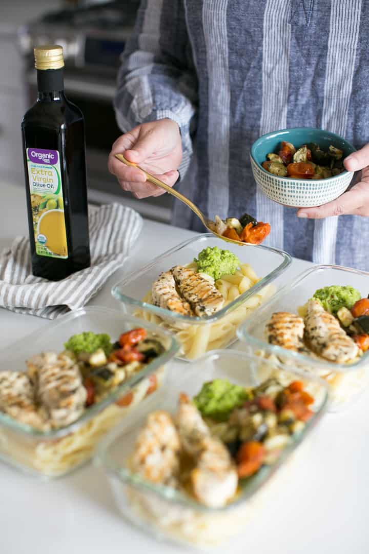 Pea Pesto Penne Meal Prep Bowls with Three Herb Chicken and Roasted Veggies