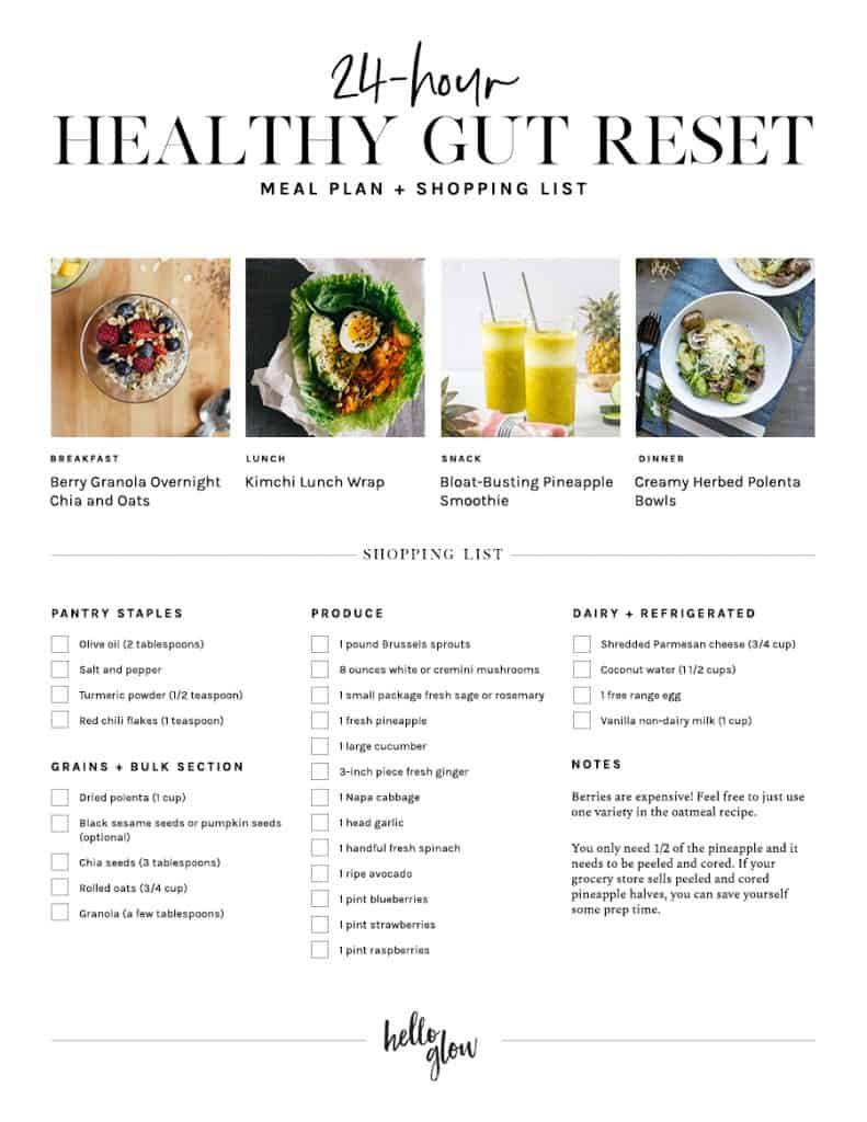 Get the 24-Hour Healthy Gut Reset Meal Plan + Shopping List
