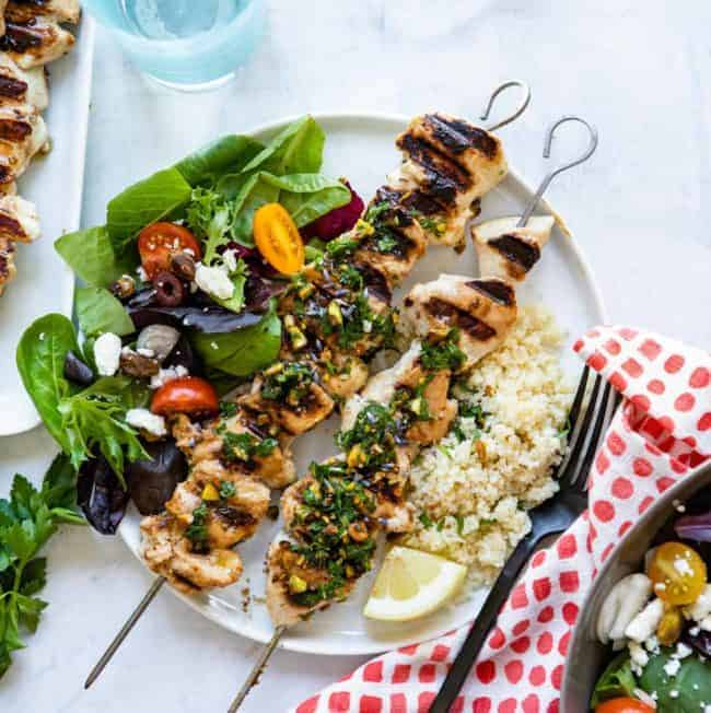 Grilled Chicken Kebabs with Pistachio Gremolata
