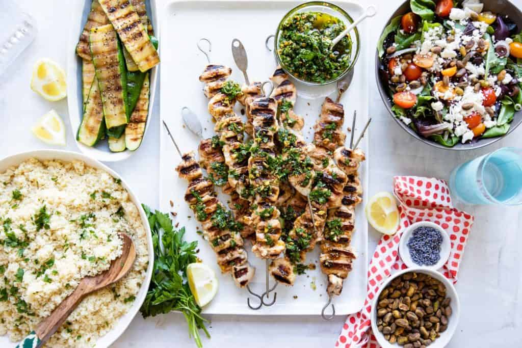 Chicken Kebabs with Pistachio Gremolata | HelloGlow.co