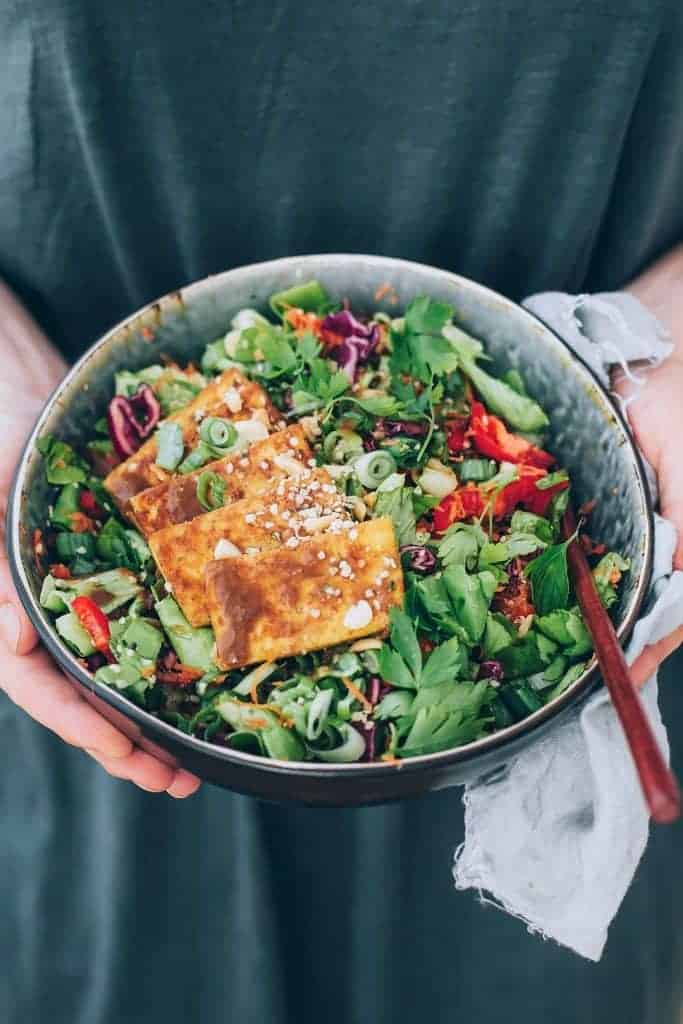 Miso-Almond Power Salad with Baked Tofu from Hello Veggie