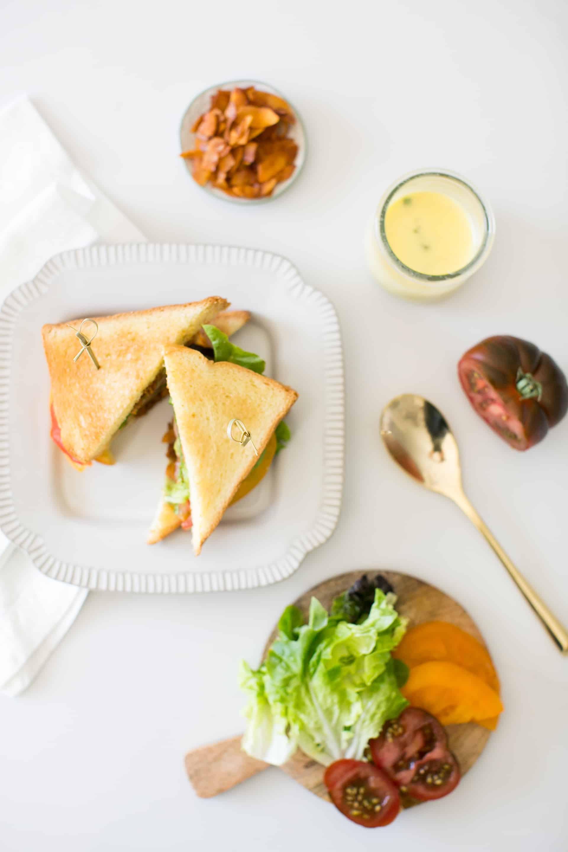 Heirloom Tomato & Coconut Bacon BLT with Basil Aioli