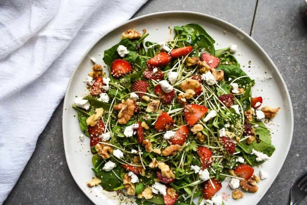 Strawberry, Walnut and Goat Cheese Spinach Salad from Minding My Soul