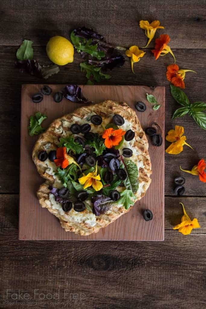 California Ripe Olive Grilled Flatbread from Fake Food Free