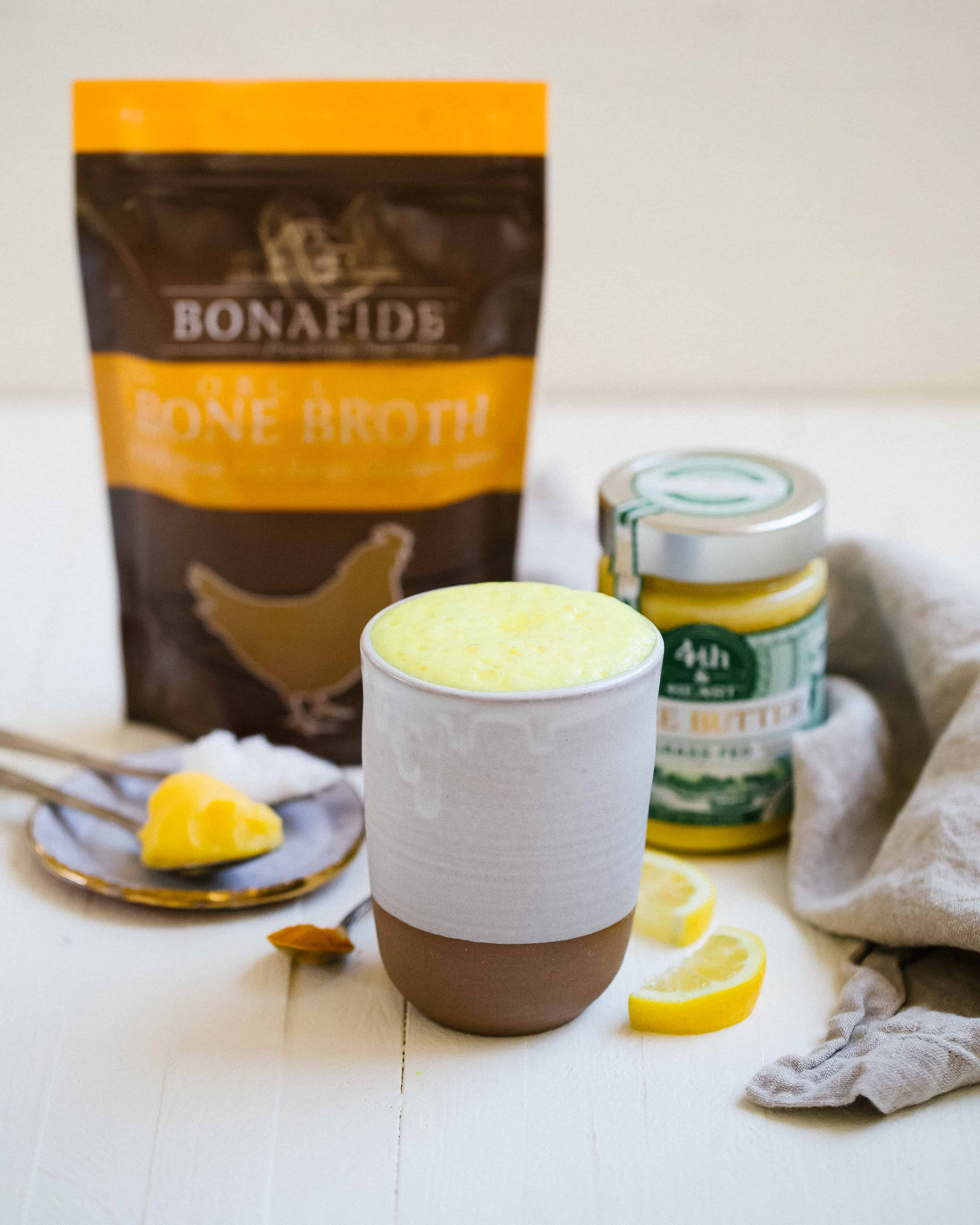A Healing Keto Bone Broth Latte with Turmeric