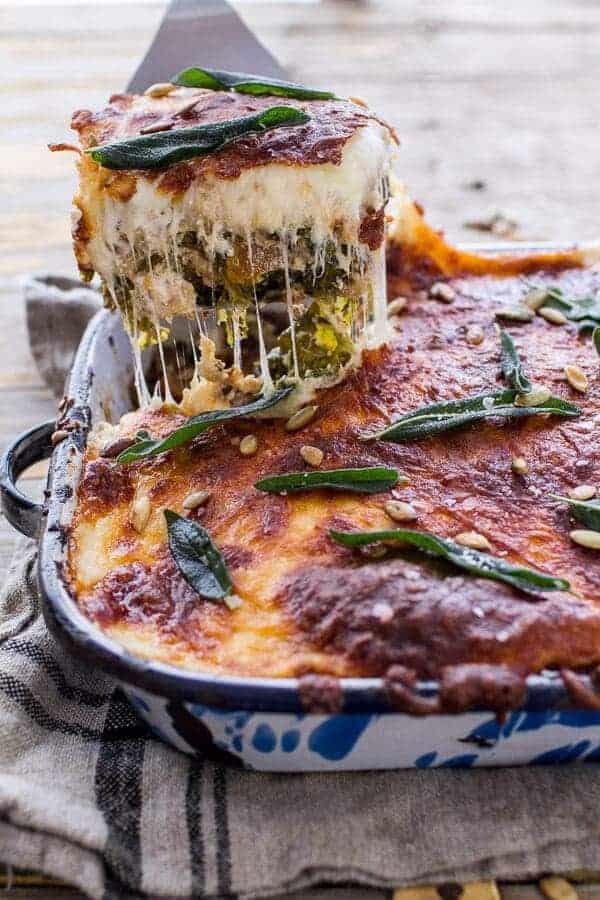 Simple Caramelized Butternut Squash and Kale Florentine Lasagna from Half Baked Harvest