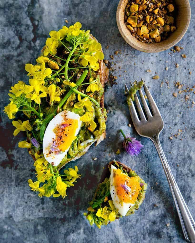 Avocado Toast with Dukkah, Spring Flowers + Soft Boiled Eggs from Hello My Dumpling