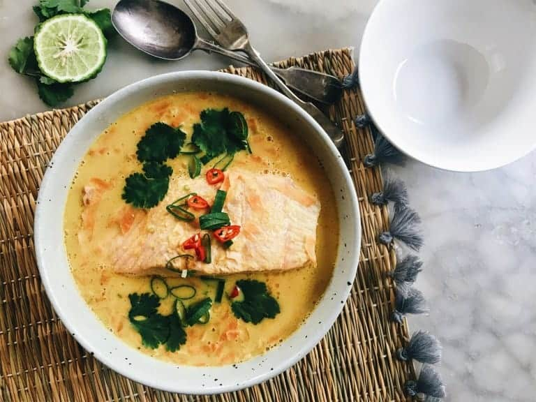 Fragrant Coconut Poached Salmon with Red Lentils from The Healthy Hunter