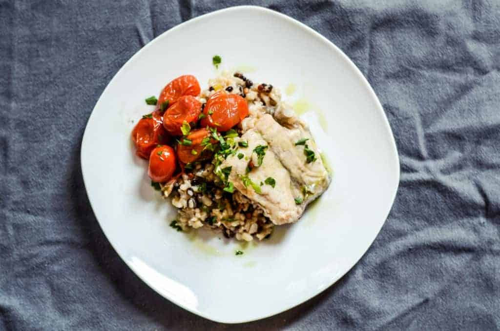 Poached Barramundi with Burst Tomatoes on Wild Rice Pilaf from Spoontang