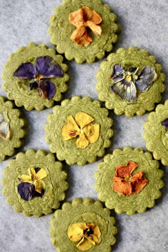 Matcha Flower Cookies from Crumbs & Cookies