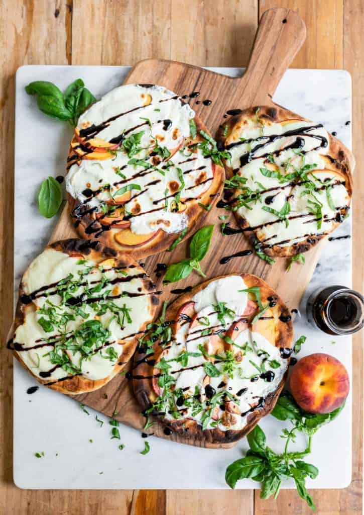 Grilled-Peach-Caprese-Naan-Pizza