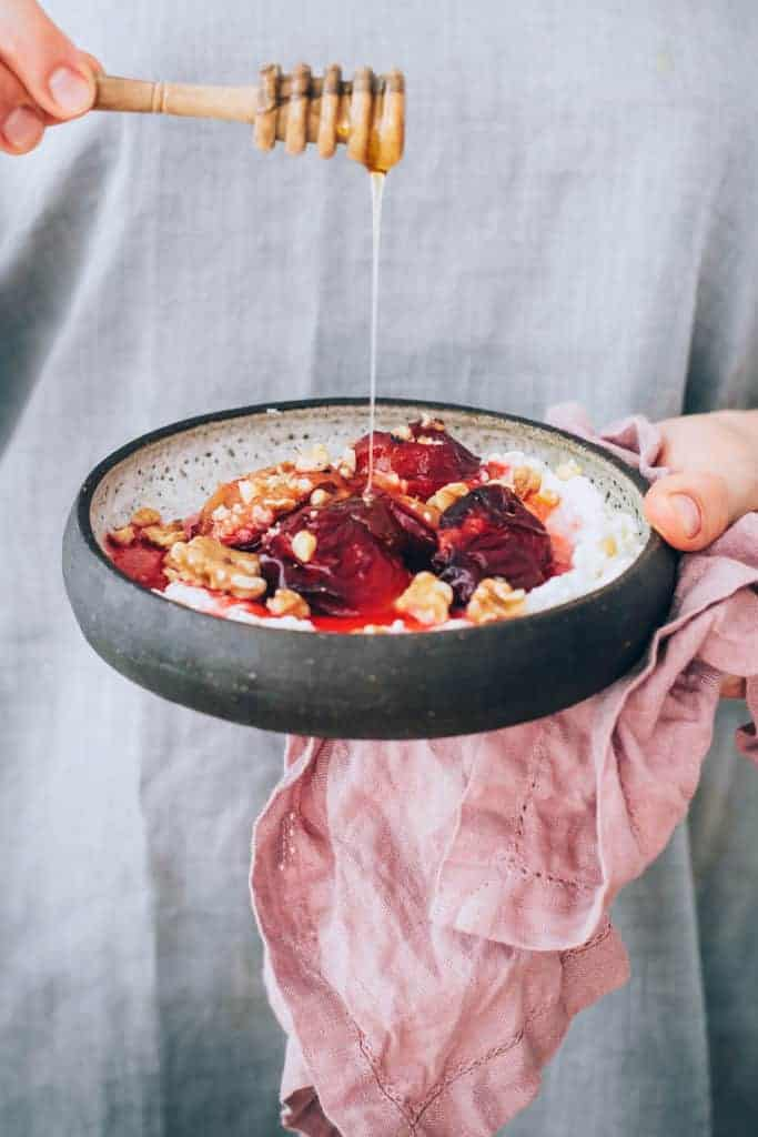 Ricotta and Honey Roasted Plum Bowls with Crunchy Buckwheat
