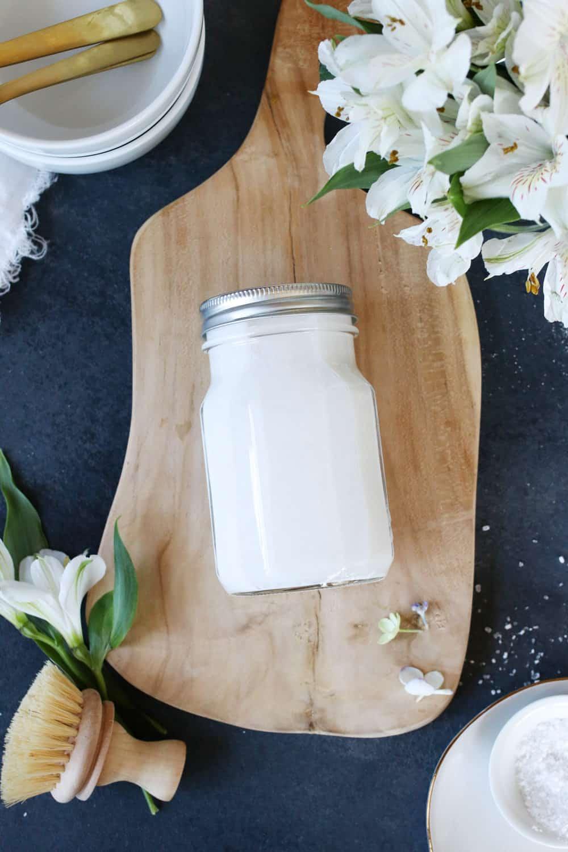 Homemade Liquid Dishwasher Detergent with Essential Oils