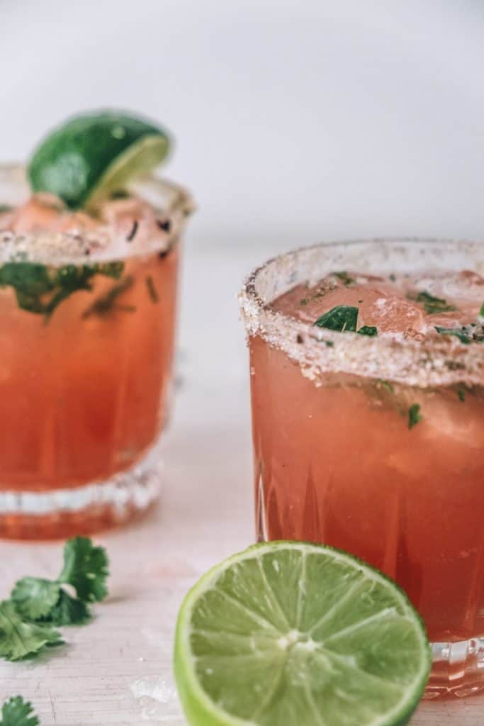 Hibiscus and Ginger Kombucha Margarita Mocktail from Sweet Lizzy