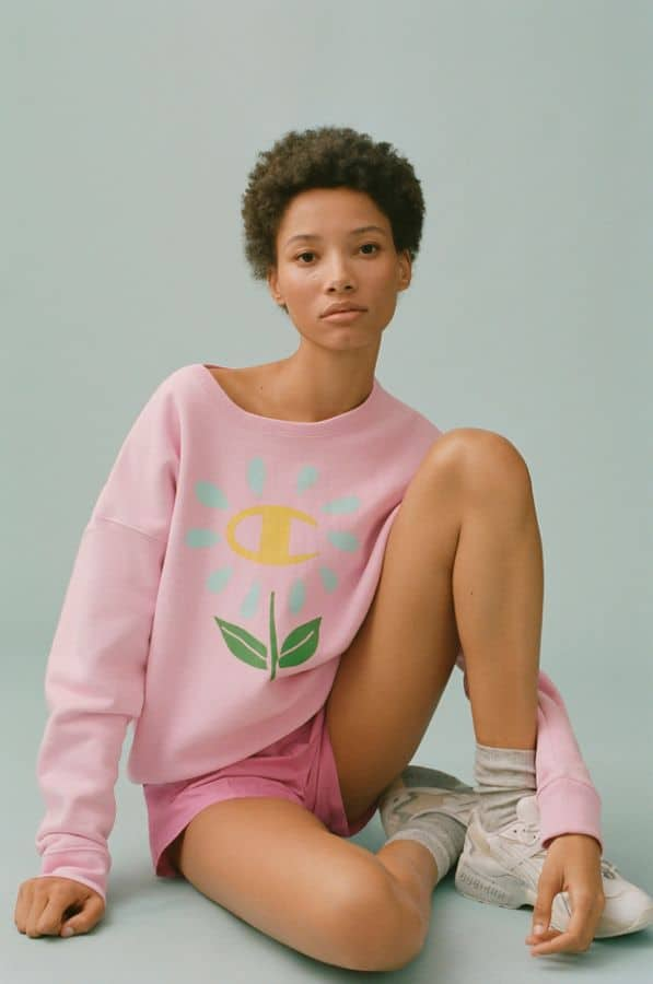 Champion X Susan Alexandra UO Exclusive Flower Crew Neck Sweatshirt