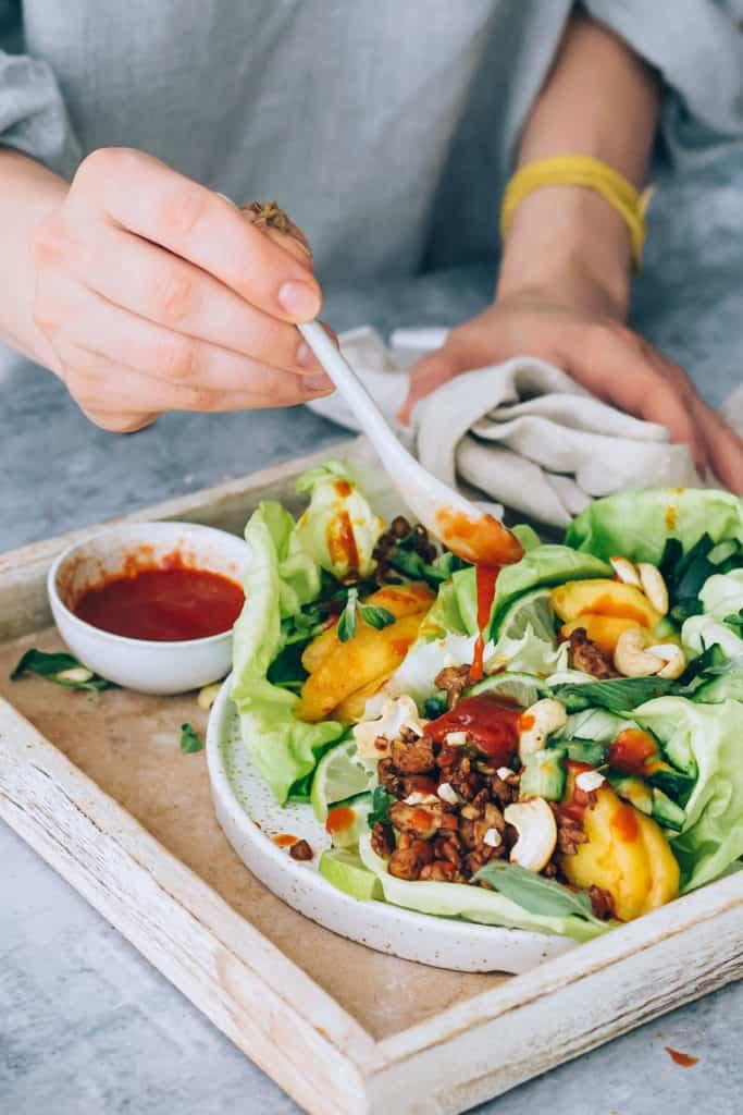 Hoisin Tempeh Lettuce Wraps