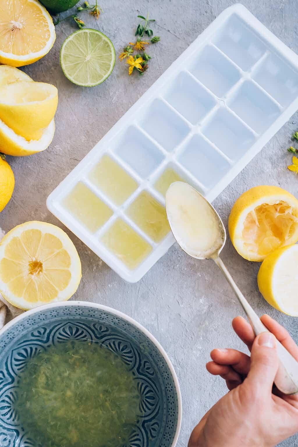 Lemon Juice Ice Cubes