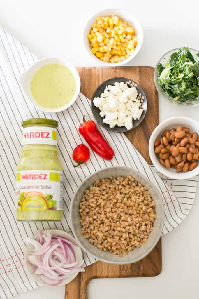 Effortless Farro Burrito Bowls with Cotija and Guacamole Salsa