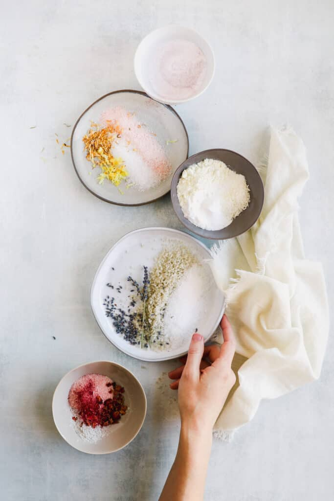 Get 5 easy to make bath soak recipes that will cleanse and soften skin. Because a hot bath has serious self-care benefits.