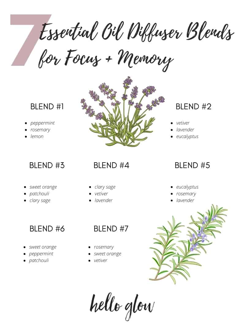 7 essential oil diffuser blends for focus + memory - Hello Glow