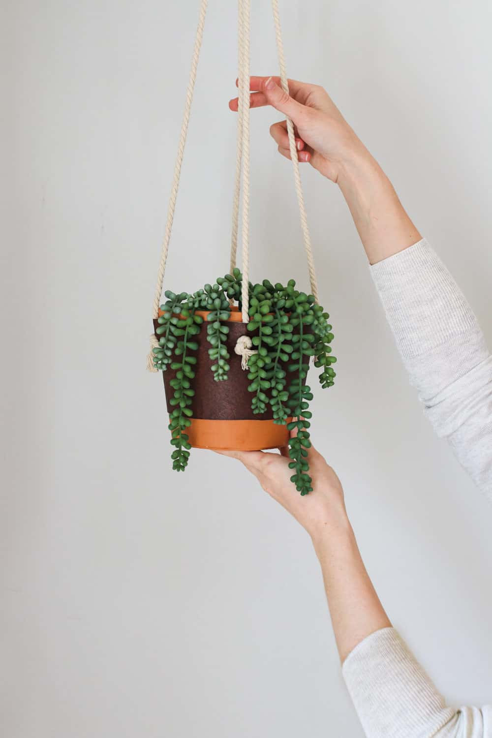 DIY Hanging Leather Planter