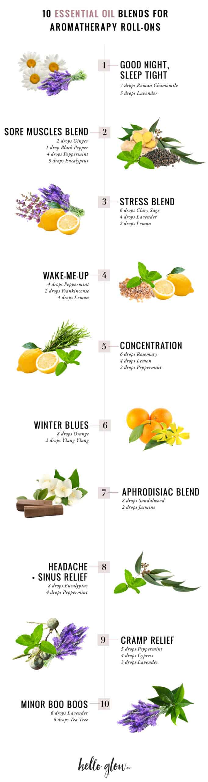 10 Essential Oil Blends for Aromatherapy Roll-Ons - HelloGlow.co