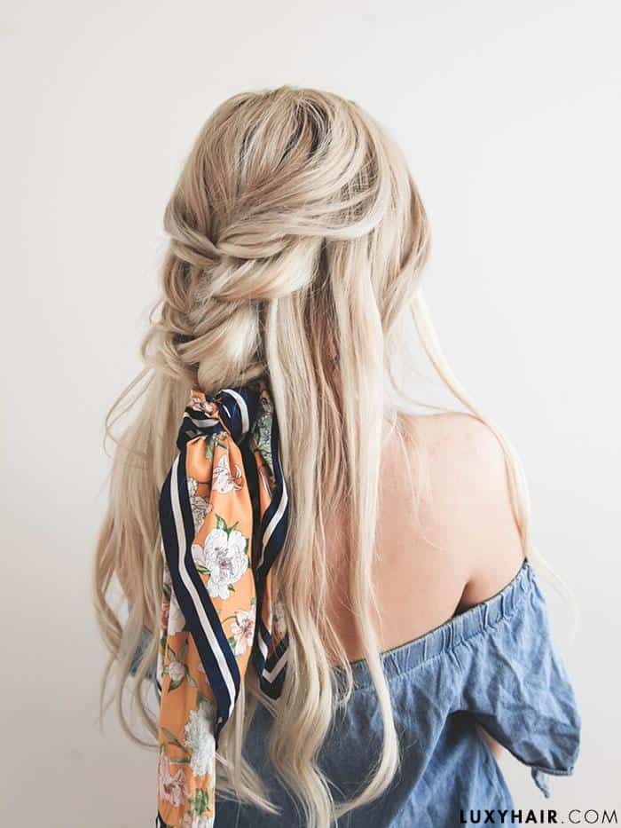 half up hairstyle with fishtail braid by Luxyhair