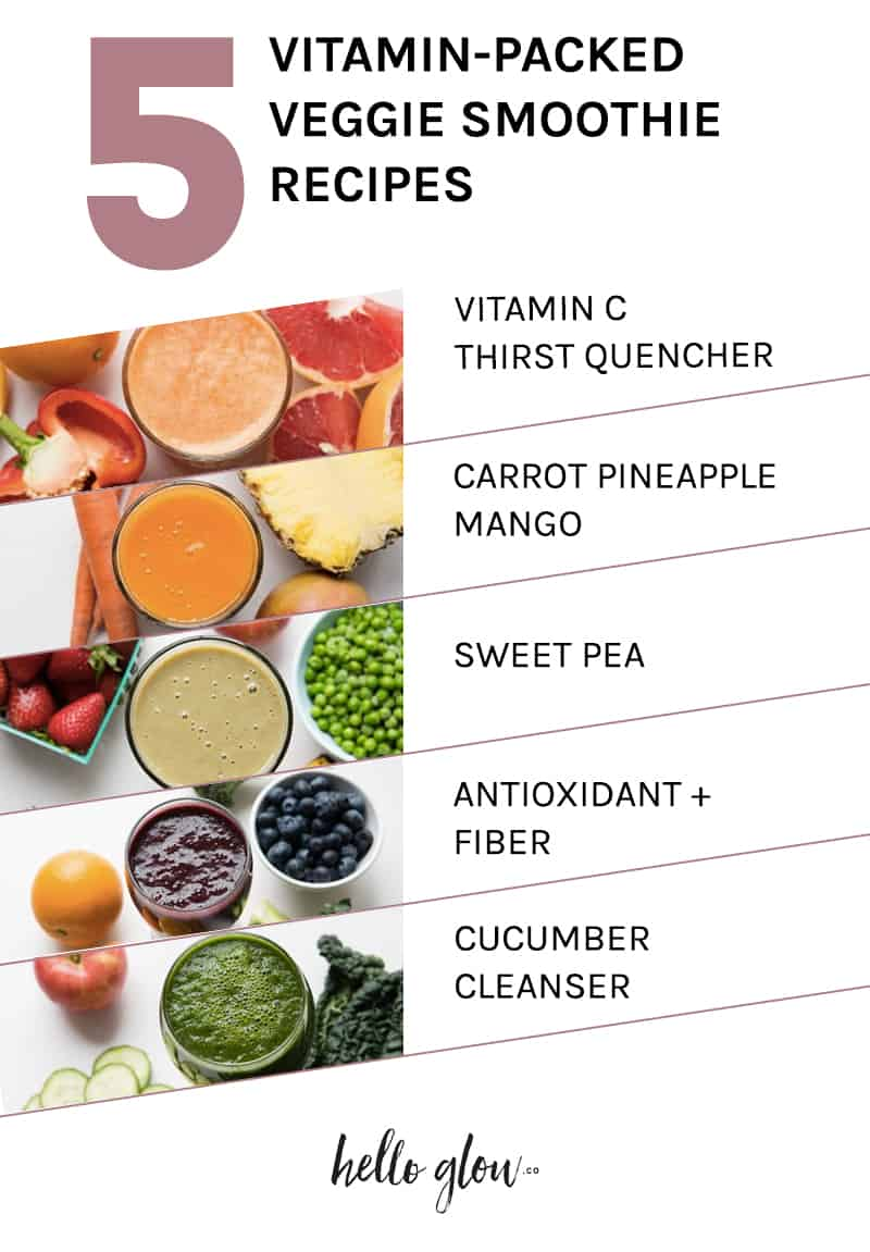 5 Vitamin-Packed Veggie Smoothie Recipes - HelloGlow.co
