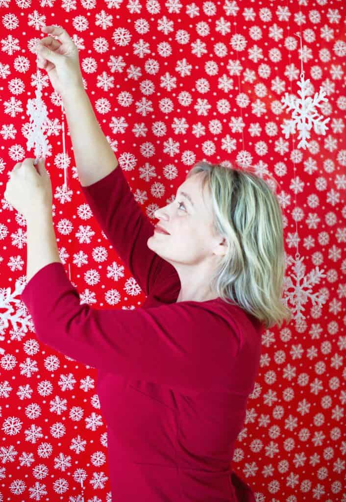 Hanging ornaments for a holiday photobooth