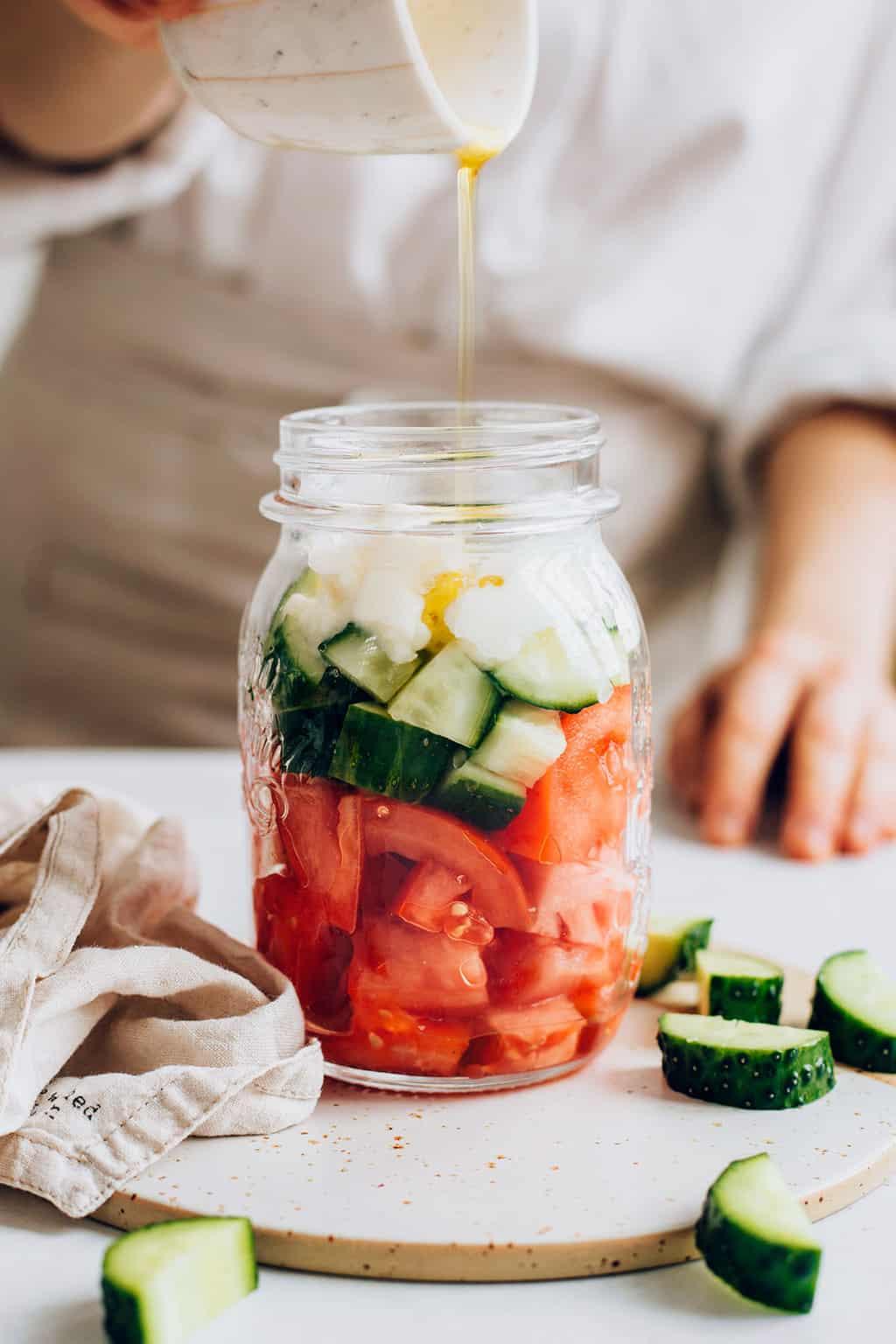 Cucumber Tomato & Feta Salad | Health Mason Jar Snacks