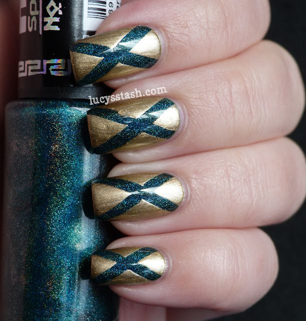 Gold and holo teal 'Diagonals' tape manicure