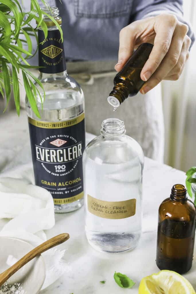 DIY glass cleaner with essential oils