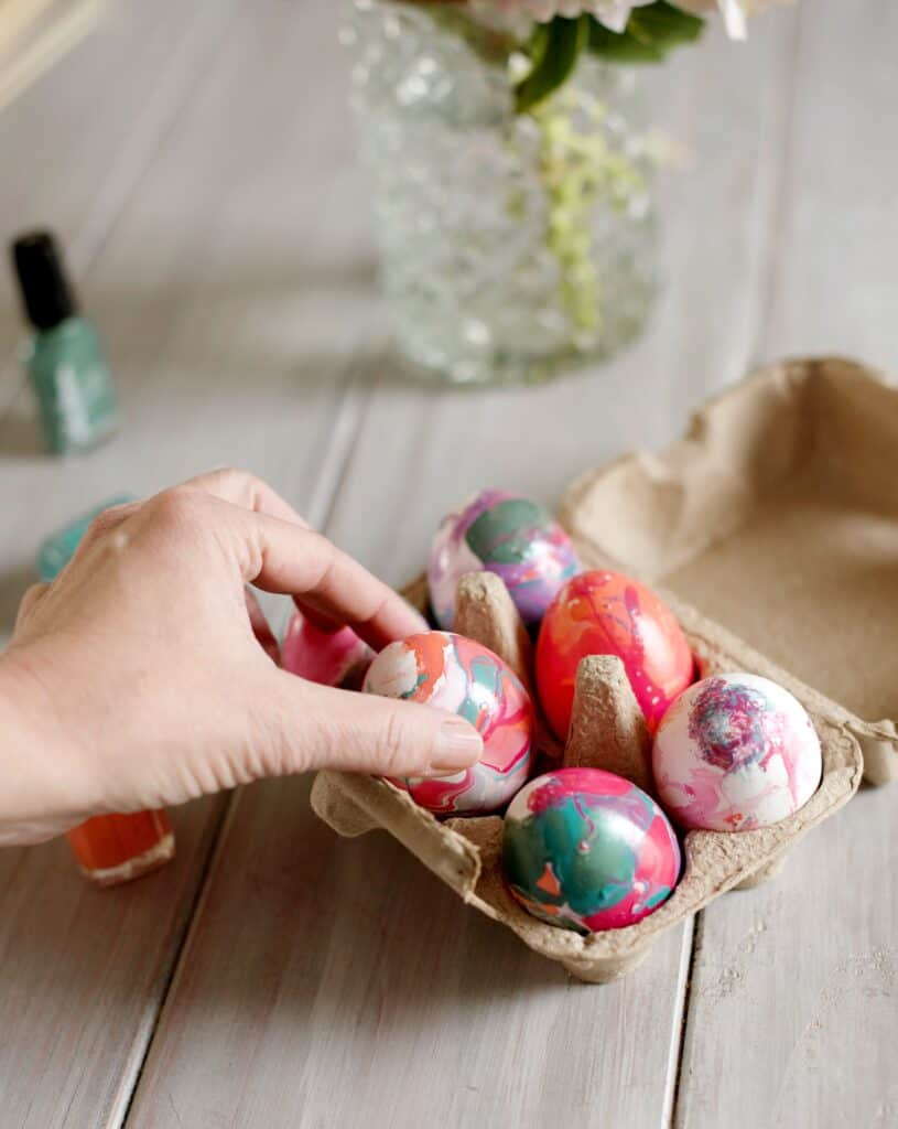 Marble Easter Eggs with Nail Polish
