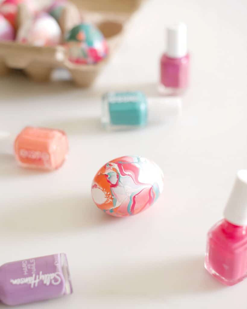 Use nail polish to decorate Easter Eggs