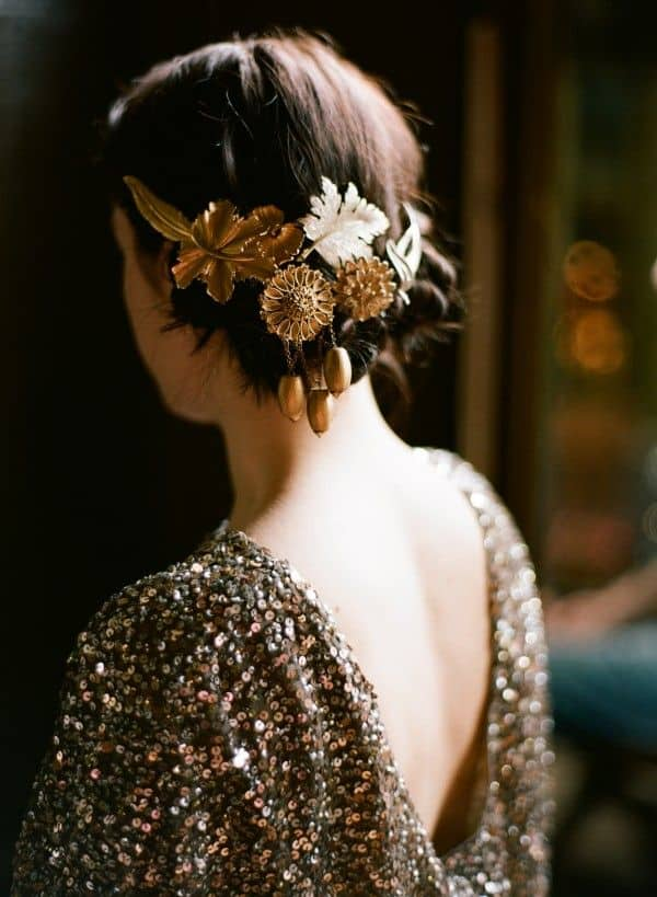 DIY Gold Hair Accessories - Once Wed