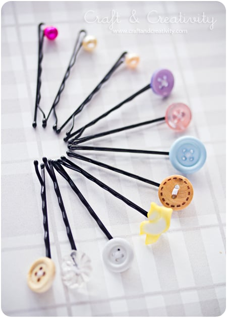 Bobby pins and old buttons - Craft and Creativity