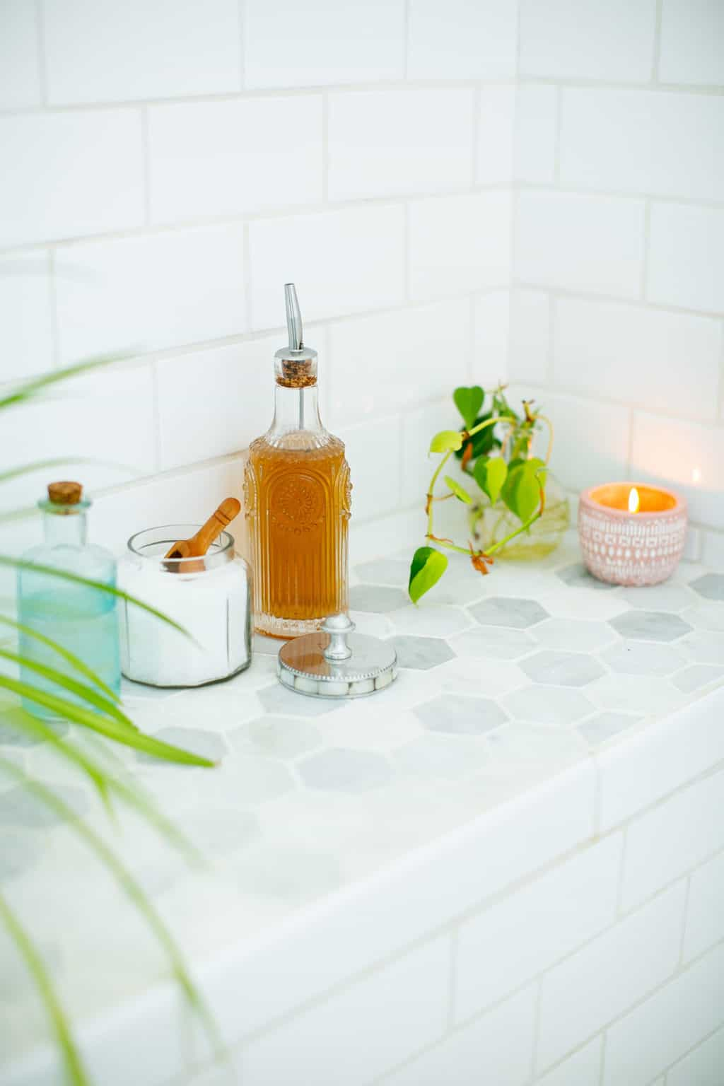 Declutter & use pretty containers in your shower for a spa-like feel